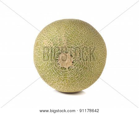 Whole Ripe Melon With Stem On White Background