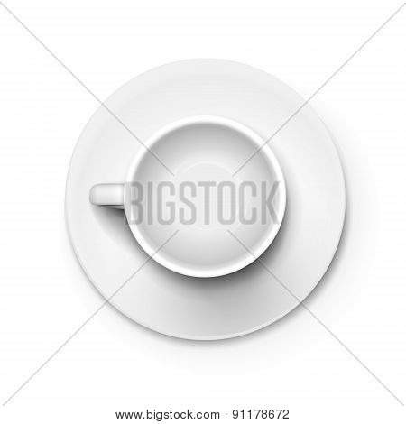 Top View Of An White Elegant Cup
