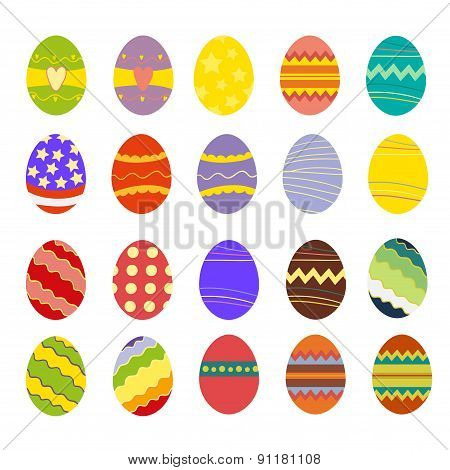 set of easter eggs, Vector illustration on white background