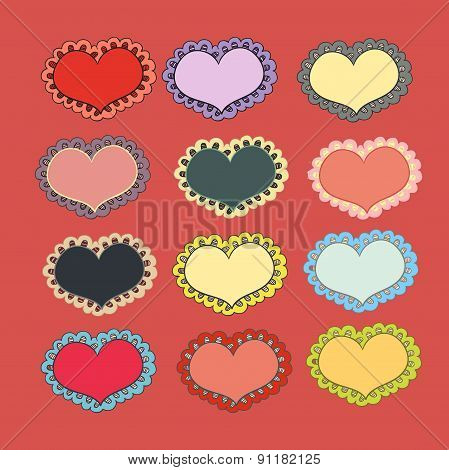 Heart shape stickers set, Vector illustration on white background