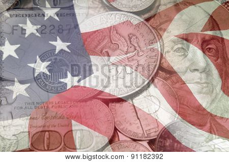 American flag, coins and banknote
