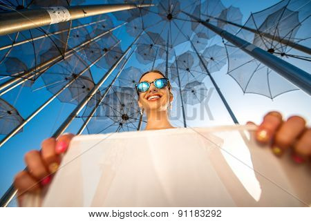 Stylish woman on abstract background