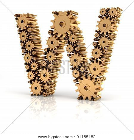 Alphabet W formed by gears