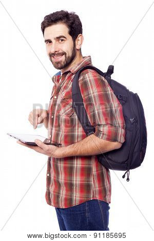 Smiling student holding a tablet pc, isolated on white background