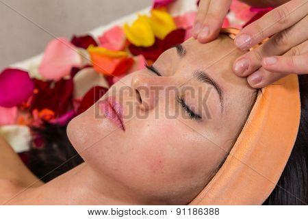 Beautiful woman in salon.