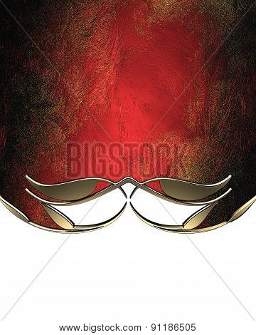 Red Texture With Gold Trim. Design Template. Design Site