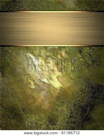 Abstract Green Background With Gold Nameplate. Design Template. Design Site
