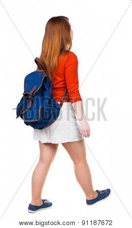 back view of walking  woman in dress with backpack.  girl in motion. backside view of person.  Rear view people collection. Isolated over white background. Young tourist in a white skirt is right.