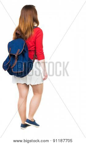 back view of walking  woman in dress with backpack.  girl in motion. backside view person.  Rear view people collection. Isolated over white background. tourist in white skirt with a large backpack.