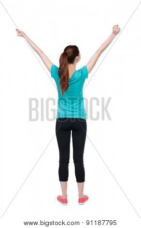 back view of standing young beautiful  woman in in sportswear  involved in Pilates. Rear view people collection.  backside view of person.  Isolated over white background. athlete stretches.