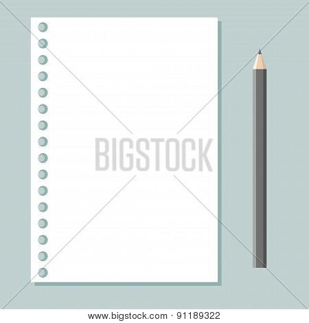 notebook sheet and pencil