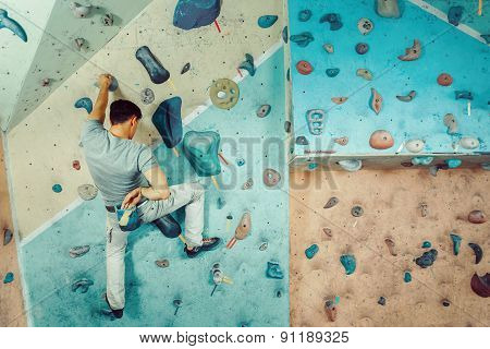 Climber Man Coating His Hand In Powder Magnesium