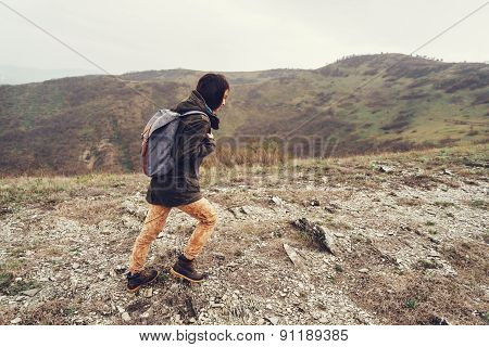 Hiker Woman Walking At Rainy Weather Outdoor