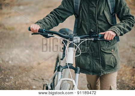 Hiker Woman With Bicycle