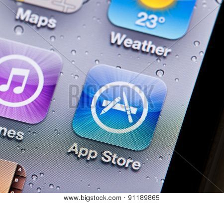 Close-up view of the App Store icon on an iPhone