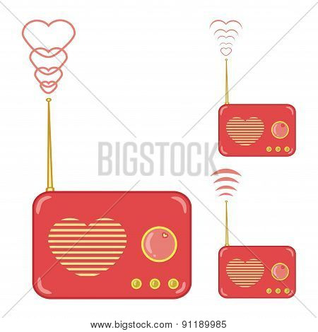 pretty pink radio with heart
