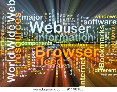 Background concept wordcloud illustration of web browser glowing light