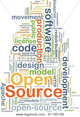 Background concept wordcloud illustration of open source