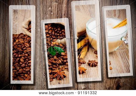 Coffee set on wooden background