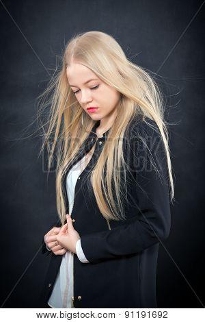 Pensive Blond Girl