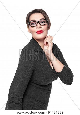Beautiful Plus Size Woman In Black Dress And Glasses Posing Isolated