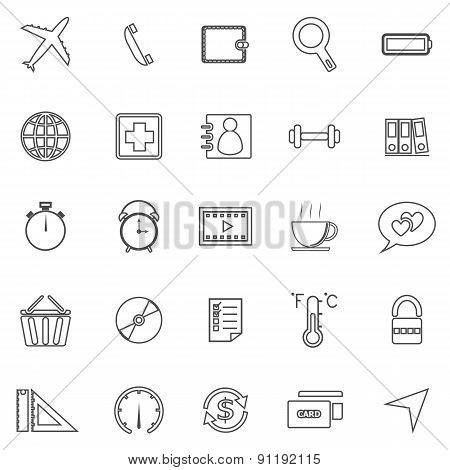 Application Line Icons On White Background. Set 2