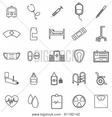 Hospital Line Icons On White Background