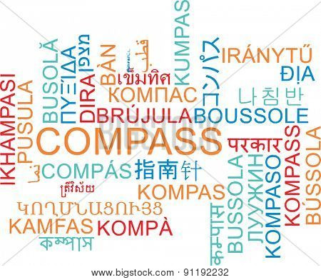 Background concept wordcloud multilanguage international many language illustration of compass