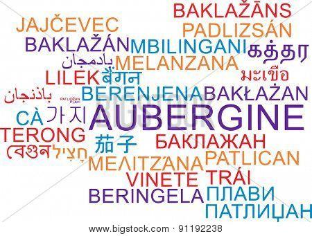 Background concept wordcloud multilanguage international many language illustration of aubergine