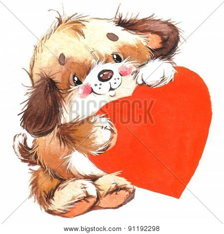 Cute pets animal and background for Valentine Day. watercolor