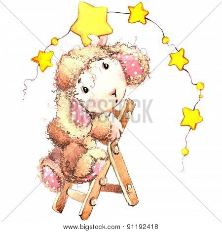 Funny sheep. watercolor illustration