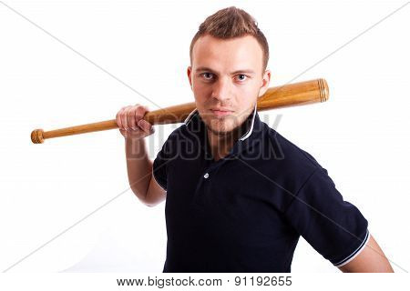 Angry Man Hand Holding Baseball Bat Isolated On White.