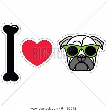 I love pug  with green hipster glasses sticker style