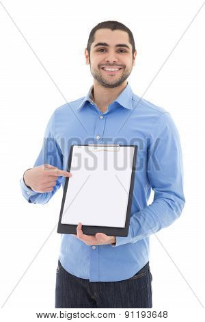 Young Arabic Man Showing Clipboard With Copy Space Isolated On White