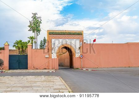 MARRAKESH, MOROCCO, APRIL 3, 2015: Gate in old walls