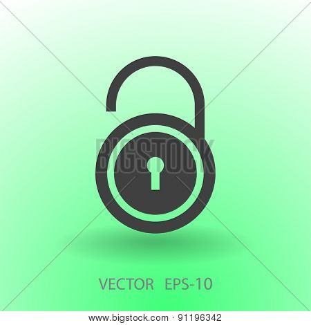 Flat icon of unlock