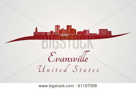 Evansville Skyline In Red