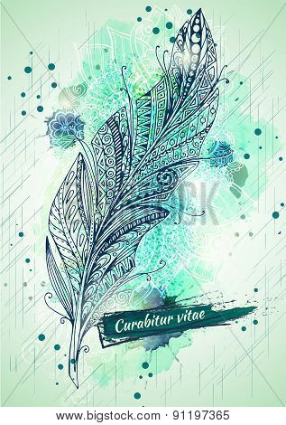 Vector template poster with watercolor paint and feather background.
