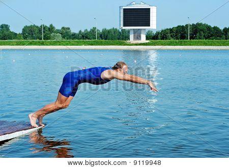 Sportsman Jump In Water