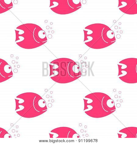 Vector fish seamless pattern. Fish background in clean and simple design