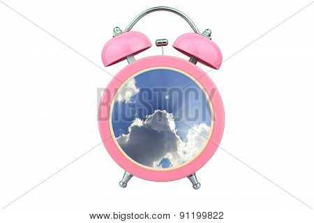 Conceptual Art : Time To Relax : Sunlight Shining Through Cloud Within Pink Alarm Clock Isolated On