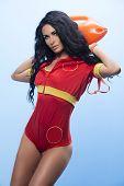 image of lifeguard  - Beauty sexy lifeguard woman posing in studio - JPG