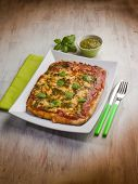 picture of pesto sauce  - homemade pizza with pesto sauce - JPG