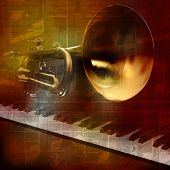 picture of trumpet  - abstract grunge vintage sound background with trumpet and piano - JPG