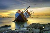pic of shipwreck  - Shipwreck at sunset at  Angsila  Chon buli  Thailand - JPG