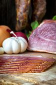 picture of meats  - collage of different kinds of meat smoked sausage and meat - JPG