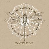 image of dragonflies  - Vector illustration of Dragonfly Sketch - JPG