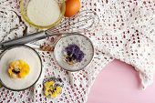 image of white sugar  - Making candied violet flowers with egg whites and sugar - JPG