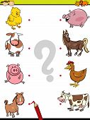 stock photo of brain-teaser  - Cartoon Illustration of Education Element Matching Game for Preschool Children with Baby Animals and their Mothers - JPG