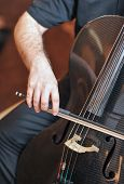 Постер, плакат: Man playing the cello hand close up Cello orchestra musical instrument playing cellist musician